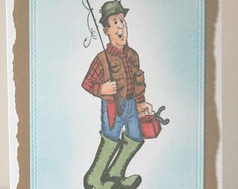 Greeting Card Handmade, Man Birthday Card , Fishing Birthday Card, Birthday Card Handmade