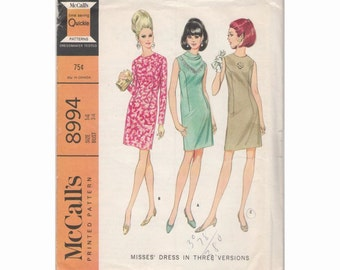 1960s McCall's 8994 Misses Dress Vintage Pattern Size 14