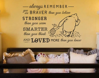 Classic Pooh and Piglet Always Remember Vinyl wall art decal