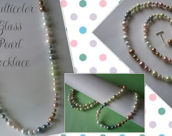 Multicolor Glass Pearl Necklace