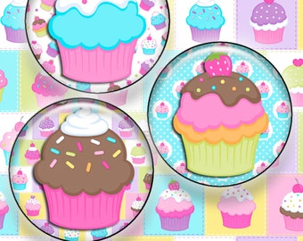 Cupcake One Inch Bottle Cap Images - JPG Format - Instant Download
