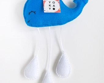 Blue Whale Fleece Baby Mobile