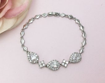 Bridesmaid Bracelet, CZ Bracelet, Bridesmaid Jewelry Gift, Bridesmaids Pear Bracelet, Personalized Jewelry 470200432