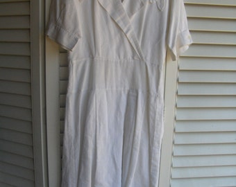 White Short Sleeved Vintage Retro Mom Linen Summer Dress