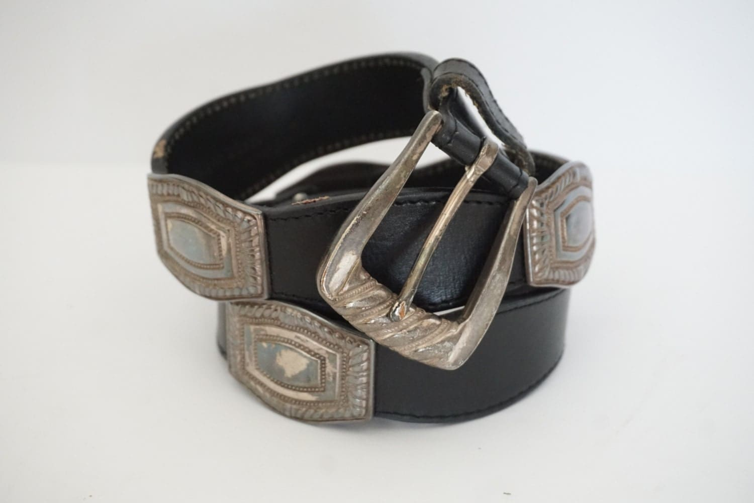 vintage mexican black leather womens concho belt