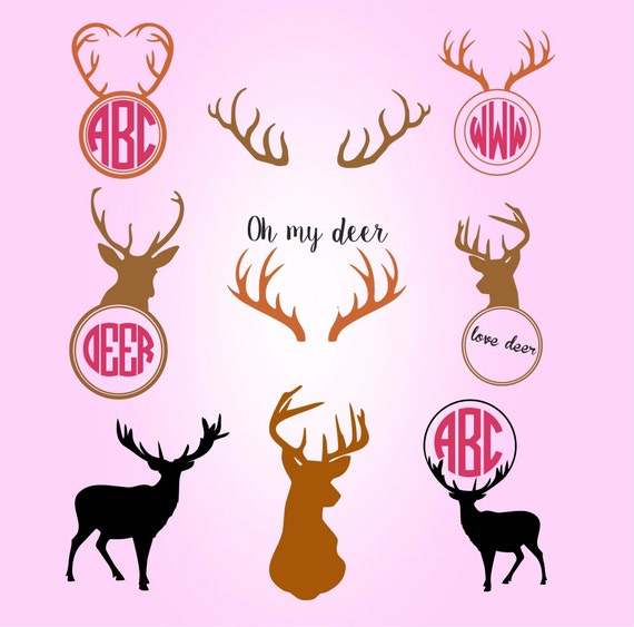 Monogram Deer Antler Svg Files Svg Monogram Svg Cut Files