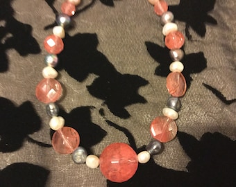 Pink Quartz With White and Grey Freshwater Pearl Necklace 20 Inches