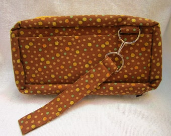 Wristlet Wallet Clutch with Strap and 9 pockets Pink and Green Floral Design