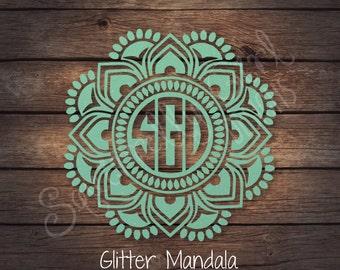 GLITTER Reverse Mandala Indian Monogram Decal