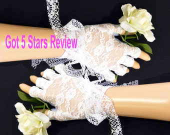 White lace gloves, fingerless gloves, fitted bride gloves, bow tie bridal glove, white fingerless, hand cover up, bridal accessories