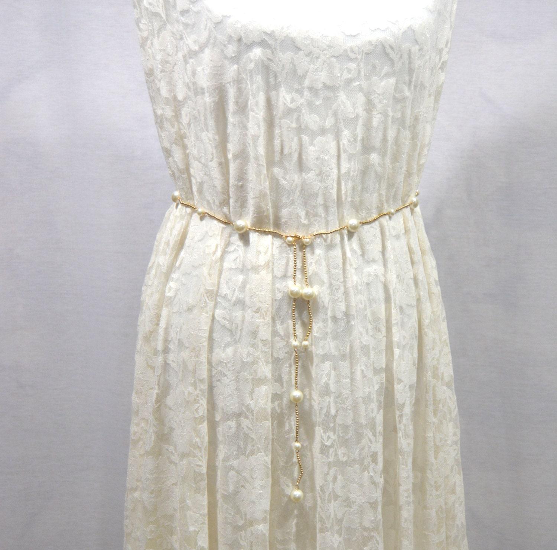 gold tone pearl belt wedding dress belt white pearls chain