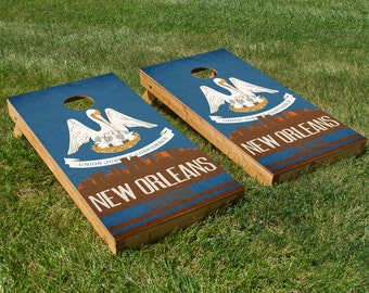 New Orleans State Flag Skyline Cornhole Board Set