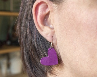 "Earrings leather hearts ""The valentines"" is purple hand"