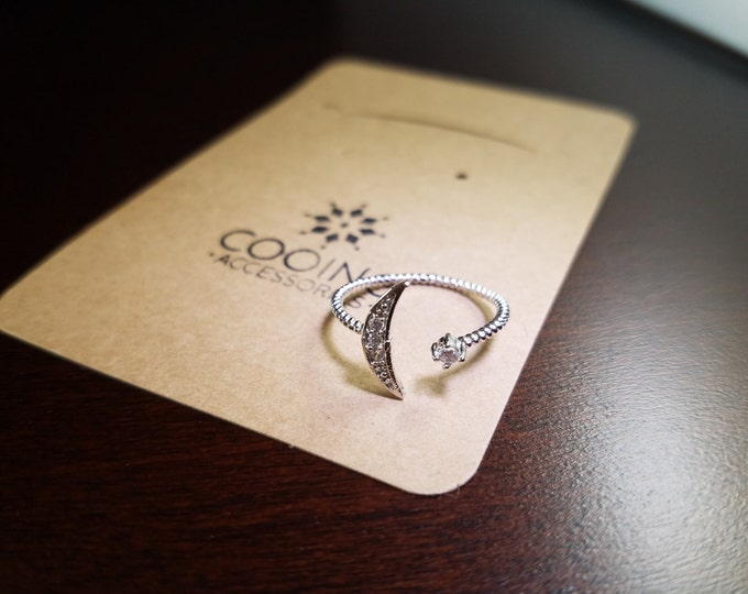 Silver Alloy Moon Pendant Ring/adjustable size/Nickel Free