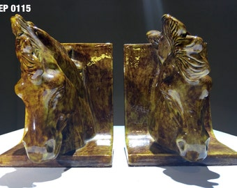 Pair of porcelain horse head bookends