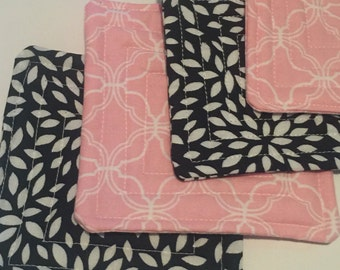 Fabric Coasters Set of 4 - Navy and Pink