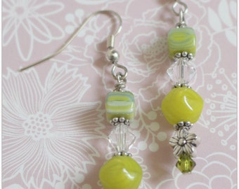 Handmade jewelry earrings with green glass and crystal beads