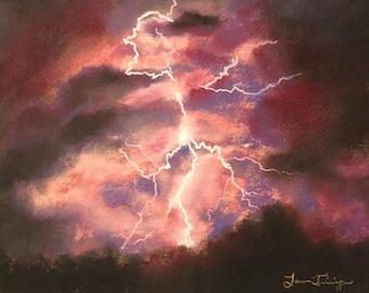 "Lightning Painting Original Soft Pastel Summer Thunder Storm Wall Art 8inx10in ""High Life"" Art Work Artwork gift present artwork anniversary"