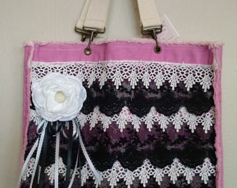 Pink, white and black lace tote.
