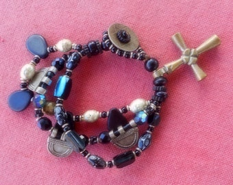 Black & silver African trade bead bracelet