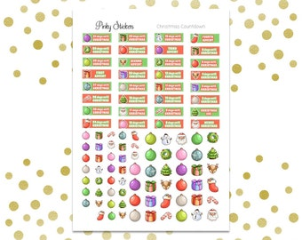SALE! -50%   Christmas Countdown 2016 Stickers   Printable   Includes Blackout Files for Easy Cutlines