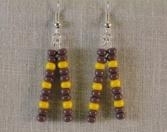 Minnesota Vikings Glass Bead Earrings.