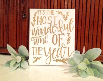 Its the Most Wonderful Time if the Year Canvas Calligraphy - home decor, Christmas decor, Christmas time, dorm decor