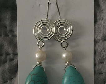 Freshwater Pearl and Turquoise Earrings