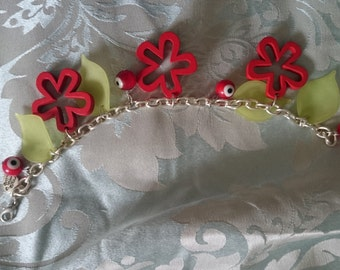 Red and green funky bracelet