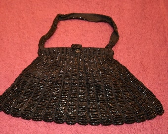 Vintage Black Micro Beaded Purse Bag