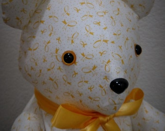 Yellow Ribbon Awareness Bear ~ Stuffed with Love by Plush For A Cause