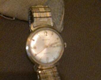 Vintage Mens Bulova M7 10K RGP Bezel & Sterling Silver Back  Automatic Self-Winding Watch