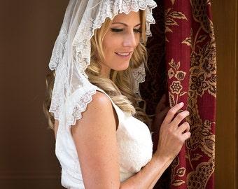 Antique Wedding Veil, Blusher length