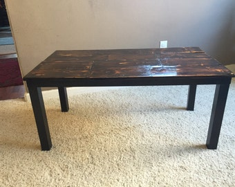 Rustic Farmhouse Reclaimed Wood topped coffee table