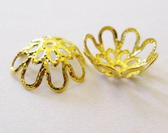 Gold Filigree Bead Cap. Jewelry Supplies.