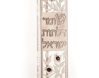 Kosher Handmade MEZUZAH Case Torah Israel Protective Good Luck Bless Decor Perspex base and stainless steel. Jewish tradition.Long 12cm- 2