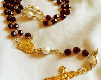Ruby Red and Gold Rosary
