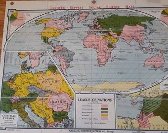 Midcentury high school map League of Nations, Central Europe 1920-1930