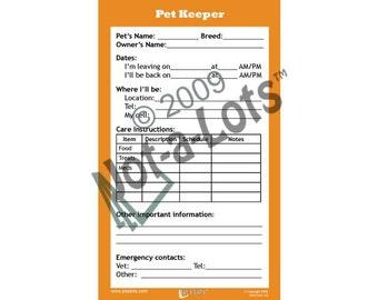 Jot-A-Lots Pet Sitter Notepad