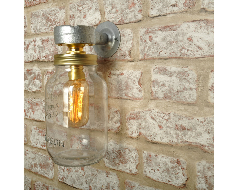 Kilner Jar Wall Lights : THE CARTER Wall Light New Industrial KILNER Jar Vintage Retro