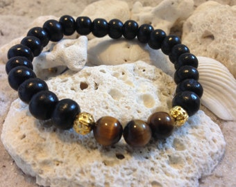 Tigers Eye with black wood beads and gold accents 4860