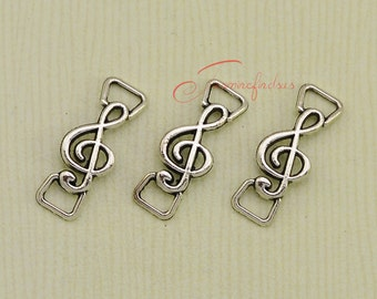 30PCS--28x11mm Antique silver Tone Treble Clefm,music note charm pendant , Musical connector, DIY Findings, Jewelry Making JAS15644DS