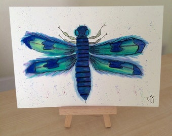 Dragonfly - Original Watercolour and Ink Drawing