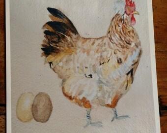 Watercolor Chicken Print - Sulmtaler Hen with Eggs