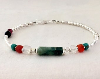 I am Strong ~ Sterling silver, Agate, Moonstone, Carnelian, Turquoise, Black Onyx, Garnet • Strength.Protection.Beautiful.