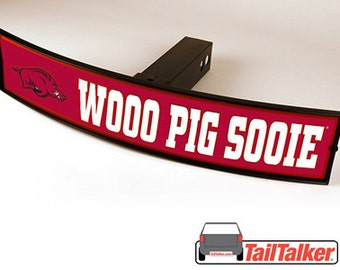 Arkansas Razorbacks Wooo Pig Sooie Trailer Hitch Cover Illuminated NCAA Officially Licensed