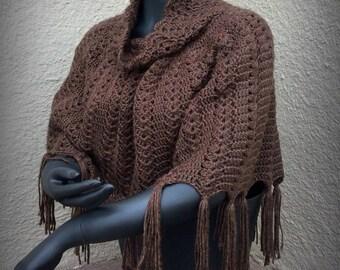 Fringe Shell Crochet Poncho Pattern