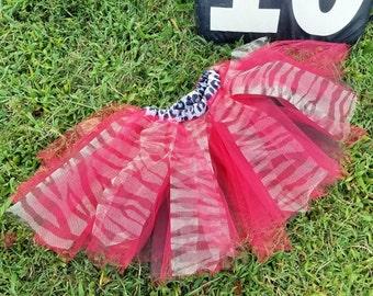 Girls red, black, zebra striped tutu