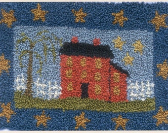 Saltbox on the Hill by Country Stitches Punch Needle Pattern