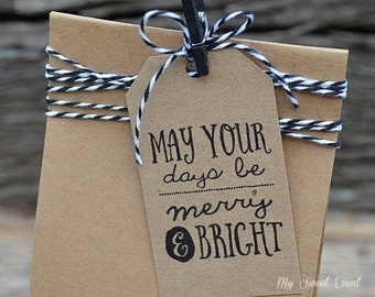 Christmas Merry and Bright Printable Gift Tags PDF, Instant Download, May your Days be Merry and Bright.